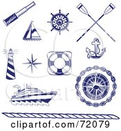 Royalty Free RF Clipart Illustration Of A Digital Collage Of Blue And White Nautical Icons