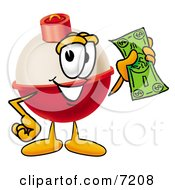 Clipart Picture Of A Fishing Bobber Mascot Cartoon Character Holding A Dollar Bill