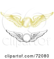 Royalty Free RF Clipart Illustration Of A Digital Collage Of Gold And Black And White Pilot Wings