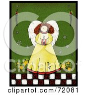 Royalty Free RF Clipart Illustration Of An Angel With Stars Holding A Candle Over Green by inkgraphics