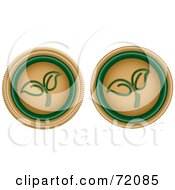 Digital Collage Of Two Beige And Green Seedling Buttons by inkgraphics