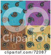 Royalty Free RF Clipart Illustration Of A Colorful Checkered Bird Paisley Background by inkgraphics