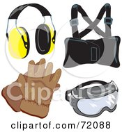 Royalty Free RF Clipart Illustration Of A Digital Collage Of Industrial Safety Gear Version 1