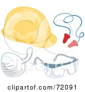 Royalty Free RF Clipart Illustration Of A Digital Collage Of Industrial Safety Gear Version 2