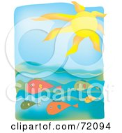 Royalty Free RF Clipart Illustration Of A Sun Shining Over The Sea With Colorful Fish In The Water by inkgraphics