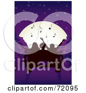 Royalty Free RF Clipart Illustration Of Silhouetted People In A Convertible Car Driving Towards A Musical Full Moon In A Purple Night Sky
