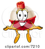 Clipart Picture Of A Fishing Bobber Mascot Cartoon Character Sitting