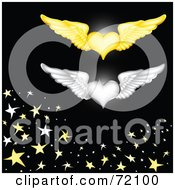 Royalty Free RF Clipart Illustration Of Gold And Silver Winged Hearts Over Black With Stars by inkgraphics