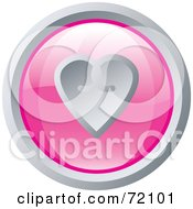 Shiny Round Pink And Silver Heart Website Button