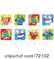 Royalty Free RF Clipart Illustration Of A Digital Collage Of Peeling Monster Face Stickers by inkgraphics