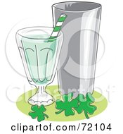 Royalty Free RF Clipart Illustration Of A Mint Milk Shake With A Straw And Silver Cup