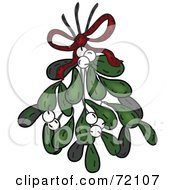 Royalty Free RF Clipart Illustration Of A Bundle Of Mistletoe With White Berries And A Red Bow by inkgraphics