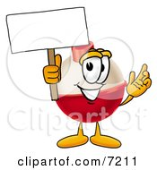 Clipart Picture Of A Fishing Bobber Mascot Cartoon Character Holding A Blank Sign by Toons4Biz