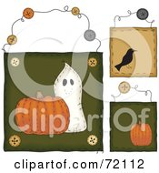 Royalty Free RF Clipart Illustration Of A Digital Collage Of Halloween Hanging Door Signs by inkgraphics