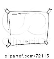 Royalty Free RF Clipart Illustration Of A Black And White Sketch Of A Taped Blank Sign by PlatyPlus Art