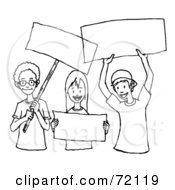 Royalty Free RF Clipart Illustration Of A Black And White Outline Of Children Holding Blank Signs by PlatyPlus Art