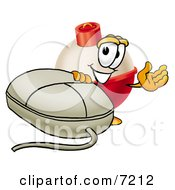 Clipart Picture Of A Fishing Bobber Mascot Cartoon Character With A Computer Mouse