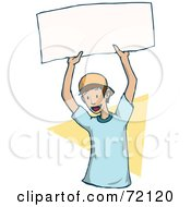 Royalty Free RF Clipart Illustration Of An Energetic Little Boy Holding Up A Blank Sign by PlatyPlus Art