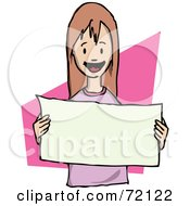 Royalty Free RF Clipart Illustration Of A Happy Little Girl Holding A Blank Sign In Front Of Her Chest by PlatyPlus Art