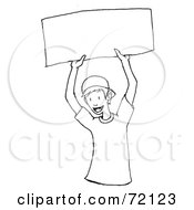 Royalty Free RF Clipart Illustration Of A Black And White Outline Of A Happy Boy Holding Up A Blank Sign by PlatyPlus Art