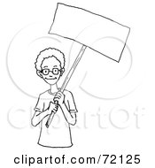 Royalty Free RF Clipart Illustration Of A Black And White Outline Of An African American Boy Holding A Blank Sign by PlatyPlus Art
