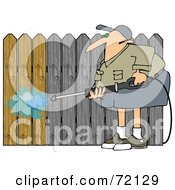 Royalty Free RF Clipart Illustration Of A Man Pressure Washing A Wood Fence To Remove The Silvery Color