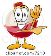 Clipart Picture Of A Fishing Bobber Mascot Cartoon Character Waving And Pointing