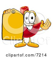 Clipart Picture Of A Fishing Bobber Mascot Cartoon Character Holding A Yellow Sales Price Tag by Toons4Biz
