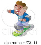 Royalty Free RF Clipart Illustration Of A Happy Hispanic Boy Wearing Knee Pads And Skateboarding by YUHAIZAN YUNUS