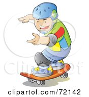Caucasian Boy Wearing A Helmet And Skateboarding