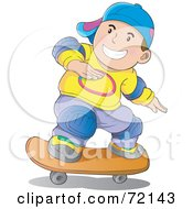 Royalty Free RF Clipart Illustration Of A Caucasian Skater Boy Wearing Knee Pads And A Hat by YUHAIZAN YUNUS