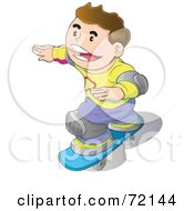 Royalty Free RF Clipart Illustration Of A Happy Caucasian Boy Wearing Knee Pads And Skateboarding by YUHAIZAN YUNUS
