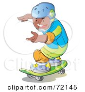 Royalty Free RF Clipart Illustration Of A Hispanic Boy Wearing A Helmet And Skateboarding by YUHAIZAN YUNUS