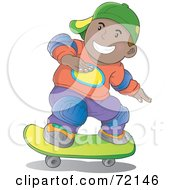 Royalty-Free (RF) Clipart Illustration of a Hispanic Skater Boy Wearing Knee Pads And A Hat by YUHAIZAN YUNUS