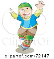 Royalty-Free (RF) Clipart Illustration of a Caucasian Boy Wearing A Helmet And Roller Blading by YUHAIZAN YUNUS