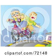Two Boys Riding On A Bicycle Down A City Street