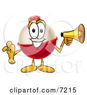 Clipart Picture Of A Fishing Bobber Mascot Cartoon Character Holding A Megaphone
