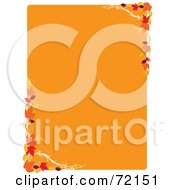 Royalty Free RF Clipart Illustration Of An Orange Background With Fall Leaf Corners And White Trim