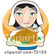 Royalty Free RF Clipart Illustration Of A Pretty Female Pilgrim Presenting A Turkey On A Tray by Maria Bell
