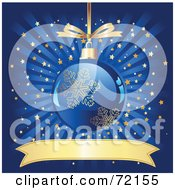 Royalty Free RF Clipart Illustration Of A Blue And Gold Snowflake Christmas Ornament Over A Bursting Starry Background With A Blank Banner