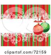 Royalty Free RF Clipart Illustration Of A Red And Green Striped Background With Snowflakes And Baubles Around A Text Box