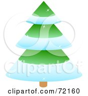 Sparkly Tiered Green Christmas Tree With Snow Flocked Trim