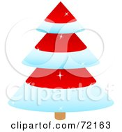 Royalty Free RF Clipart Illustration Of A Sparkly Tiered Red Christmas Tree With Snow Flocked Trim