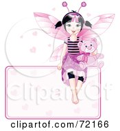 Royalty Free RF Clipart Illustration Of A Black Haired Fairy Girl With A Teddy Bear Sitting On Top Of A Heart Sign