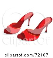 Royalty Free RF Clipart Illustration Of A Pair Of Red Sandal Heels by Pushkin