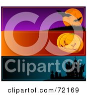 Royalty Free RF Clipart Illustration Of A Digital Collage Of Horizontal Halloween Bat Pumpkin And Haunted House Banners