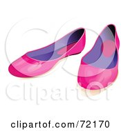 Royalty Free RF Clipart Illustration Of A Pair Of Pink And Purple Flat Shoes by Pushkin