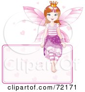 Brunette Fairy Princess With Hearts Sitting On A Blank Sign
