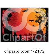 Royalty Free RF Clipart Illustration Of An Orange Halloween Background With Grunge Webs Tombstones And Bats by Pushkin