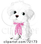 Royalty Free RF Clipart Illustration Of A Cute White Puppy Dog Wearing A Pink Bow by Pushkin